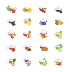 set flat icons tea vector image