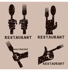 Set grunge vintage emblems restaurant vector
