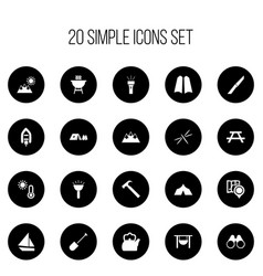 Set of 20 editable travel icons includes symbols vector