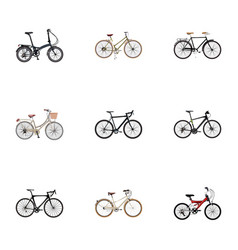 set of bike realistic symbols with woman cycle vector image