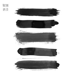 set of dark black watercolor hand painted stripes vector image