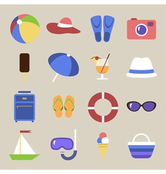 Set of icons Beach theme Flat travel objects vector