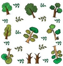 Set of ornament tree doodles vector