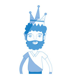 silhouette nice man with beard style and crown vector image