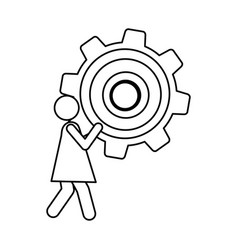Silhouette pictogram woman holding a pinion vector