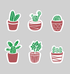 Sticker cacti set cute for card and cover vector