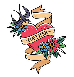 Tattoo mother heart with ribbon swallow flowers vector