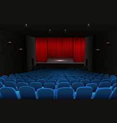 Theater stage with red curtains and blue seats vector