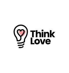 Think love bulb idea heart logo icon vector