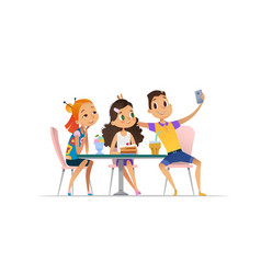 two girls and boy meeting at the cafe a and taking vector image