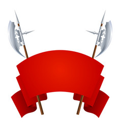 two medieval halberds with a red banner for vector image