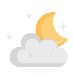 weather cloud with moon vector image