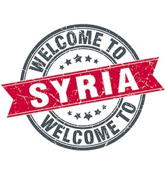 Welcome to Syria red round vintage stamp vector