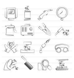 Welding and construction tools icons vector