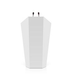 white rostrum podium tribune with microphones vector image