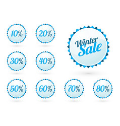 winter sale signs with percentages vector image