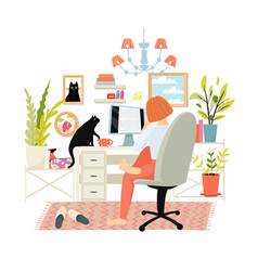 Woman or girl working studying from home office vector