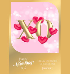 xo gold text for valentines day sale banner vector image