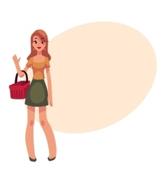 Young beautiful woman with a shopping basket vector image