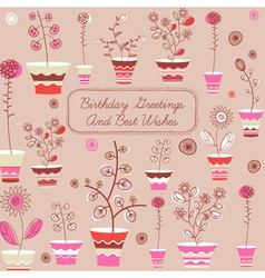 Birthday card with flowers vector image