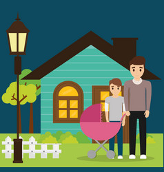 Family couple young with house vector