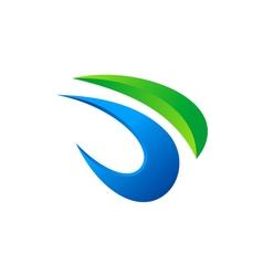 abstract 3D shape logo vector image