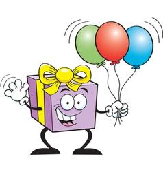 Cartoon Gift Holding Balloons vector image