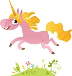 Cartoon pink unicorn vector image