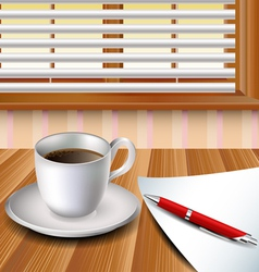 Cup of coffee on a wood table vector image
