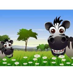 cute zebra cartoon with nature background vector image