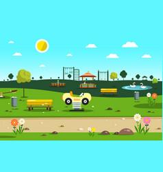 empty park - playground - city garden cartoon vector image vector image
