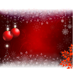 red beige christmas background with red balls and vector image vector image