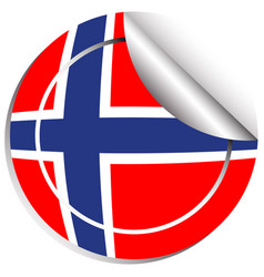 sticker design for norway flag vector image vector image