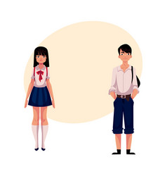 typical teenage japanese students schoolgirl and vector image vector image