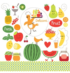 healthy eating fruits food collect vector image vector image