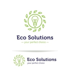 minimalistic line style eco solutions logo vector image vector image