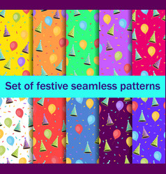 set of seamless patterns with balloons and caps vector image