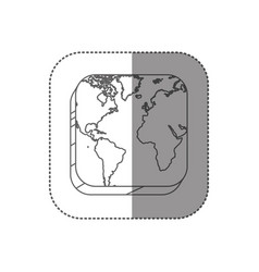 sticker square silhouette button with contour map vector image