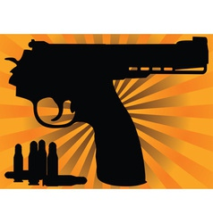correct pistol and cartridges vector image vector image