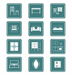 furniture icons teal series vector image