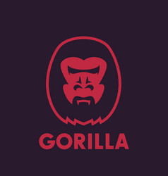 gorilla head logo element vector image