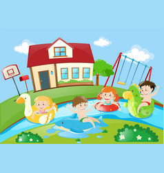 kids playing in the river vector image