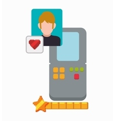 love video game portable boy character vector image