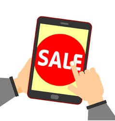Online shopping hand touch sale button vector image vector image