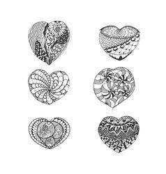 Set of Hand Drawn Sketch Hearts vector image
