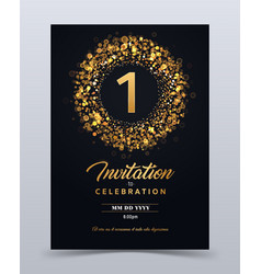 1 year anniversary invitation card template vector image