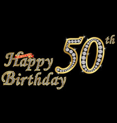 50 years happy birthday golden sign with diamonds vector image