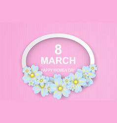 8 march happy womens day pink-white paper cut vector image