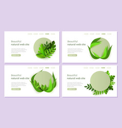 abstract green floral website templates set vector image
