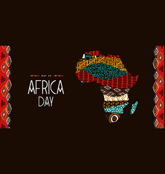 Africa day tribal animal art african map banner vector